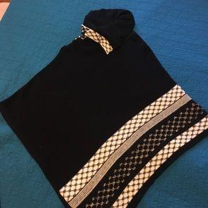 B&W sweater poncho